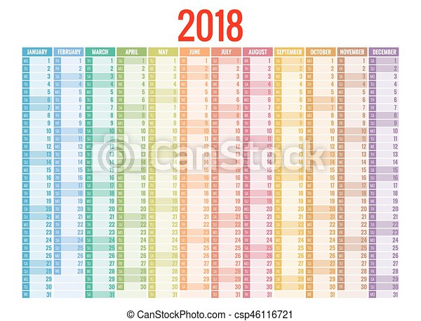 2018 Calendar Print Template Week Starts Sunday Portrait