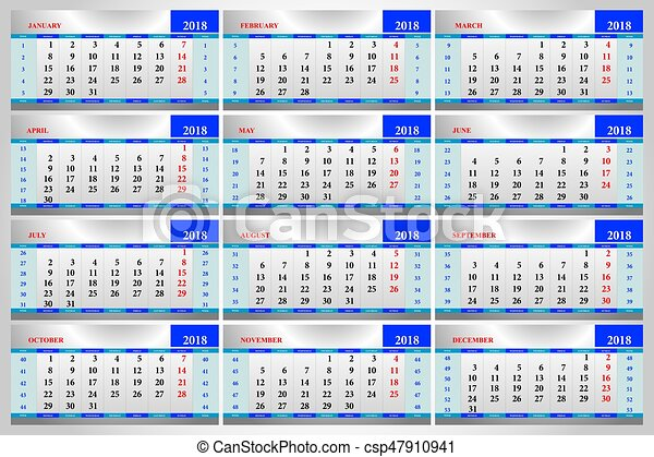 2018 calendar sheet office csp47910941