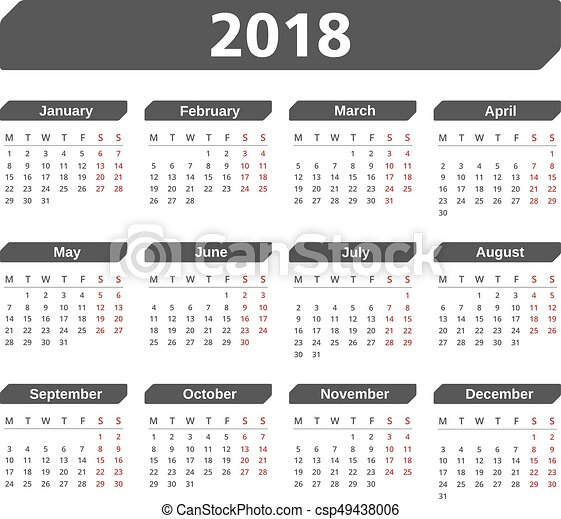 2018 calendar csp49438006