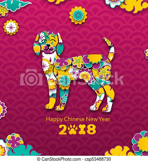 2018 chinese new year banner earthen dog paper colorful cutting pattern csp53488730
