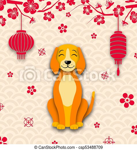 2018 chinese new year card earth dog sakura flowers branches lanterns csp53488709