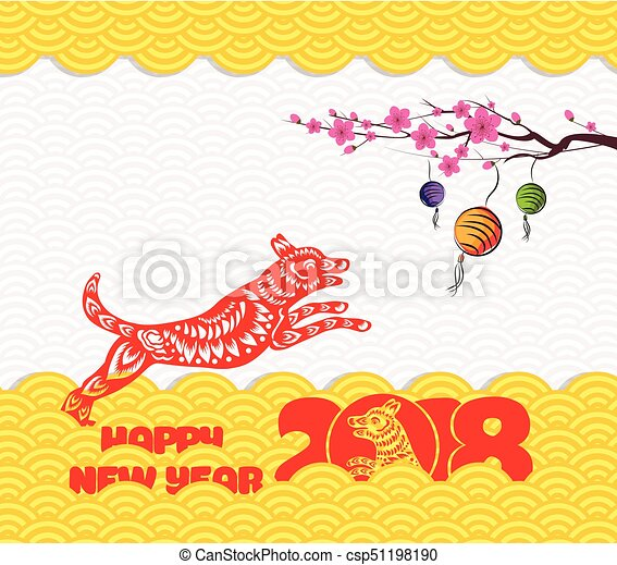 2018 chinese new year greeting card with traditionlal pattern border ...