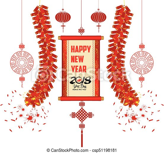 2018 chinese new year greeting card with scroll banner csp51198181