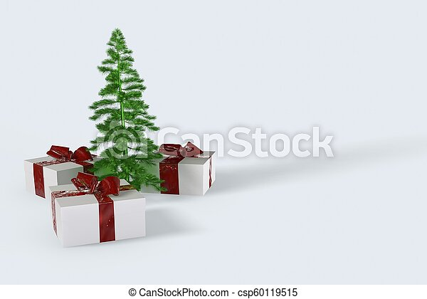 2018 Christmas New Year colorful gift boxes with bows of ribbons and green christmas tree on the white background. 3d illustration - csp60119515