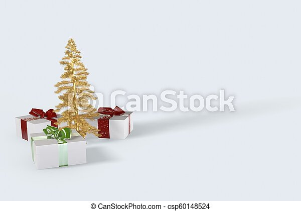 2018 Christmas New Year colorful gift boxes with bows of ribbons and golden christmas tree on the white background. 3d illustration - csp60148524