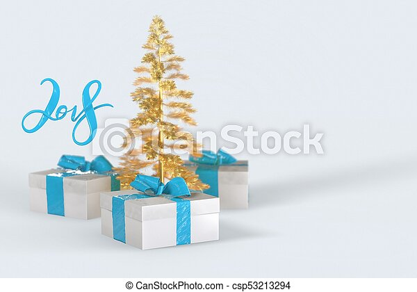 2018 Christmas New Year lettering with colorful gift boxes with bows of ribbons and golden christmas tree on the white background. 3d illustration - csp53213294