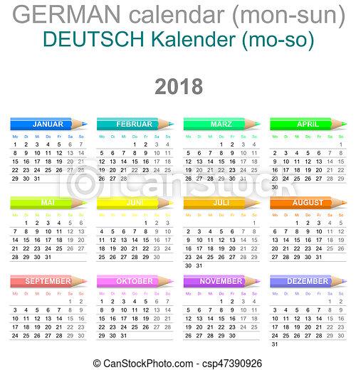 2018 crayons calendar german version monday to sunday csp47390926