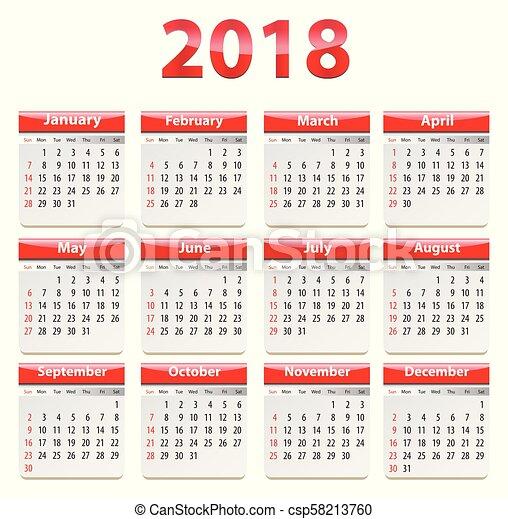 2018 English calendar - csp58213760