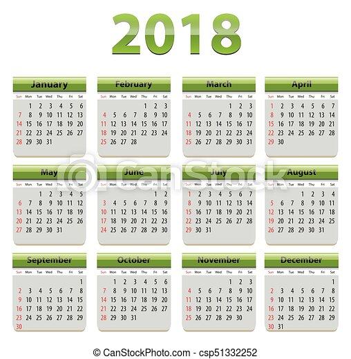 2018 English calendar - csp51332252