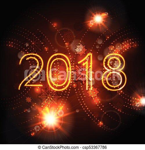 2018 glowing neon orange New Year background - csp53367786