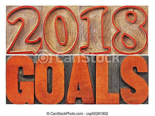 2018 goals banner in wood type - csp50291902