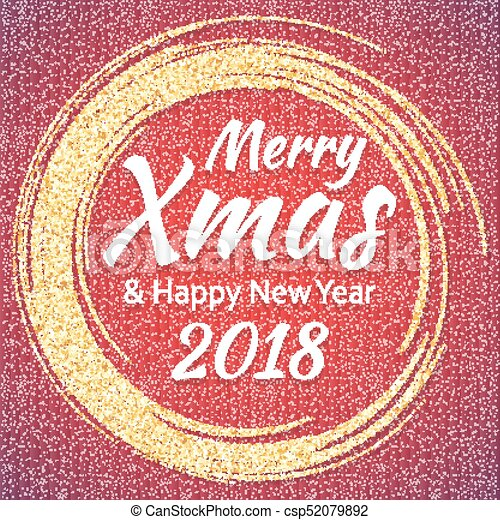 2018 gold and white card with merry christmas text and glitter frame sparkling holiday background vector dust border great for christmas and new year