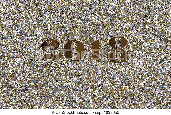 2018 gold new year numbers on bright glitter background csp51093050