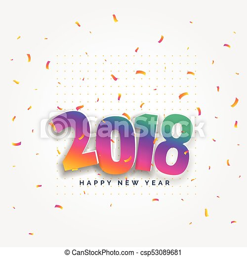 2018 happy new year card design with confetti celebration - csp53089681