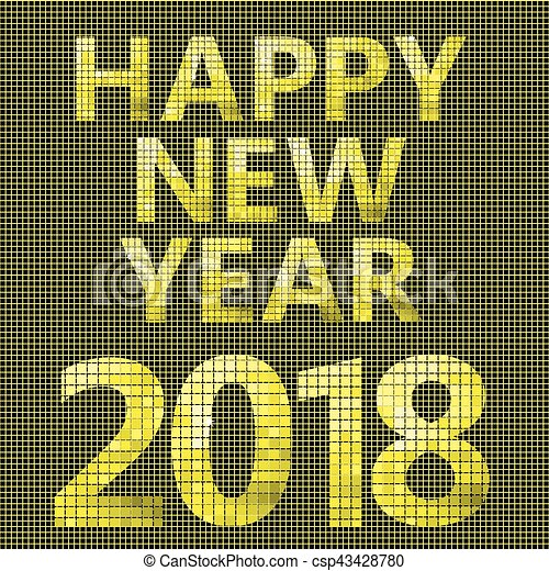 2018 Happy new year card - csp43428780