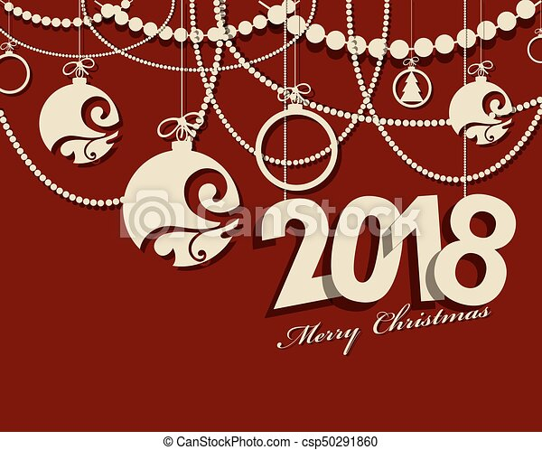2018 Happy New Year card or background. - csp50291860