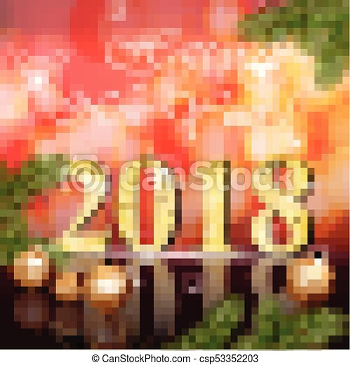 2018 Happy New Year card Vector illustration red bokeh backgrounds - csp53352203