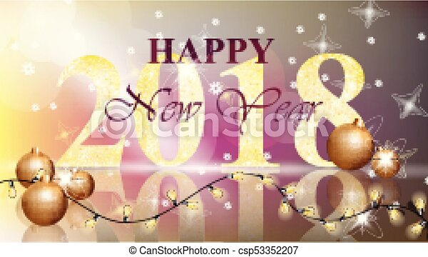 2018 Happy New Year card Vector illustration - csp53352207