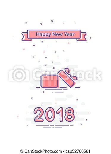 2018 happy new year design in mbe style vector flat pink opened gift box and ribbon with happy new