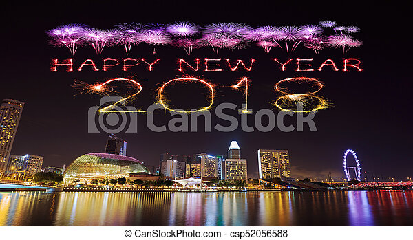 2018 happy new year firework with singapore cityscape at night csp52056588