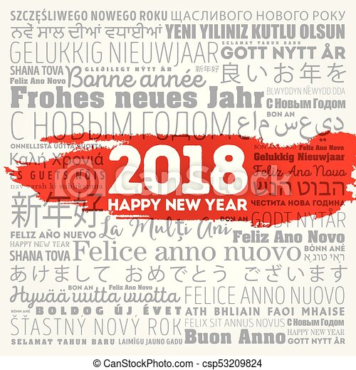 2018 happy new year in different languages, celebration word cloud ...