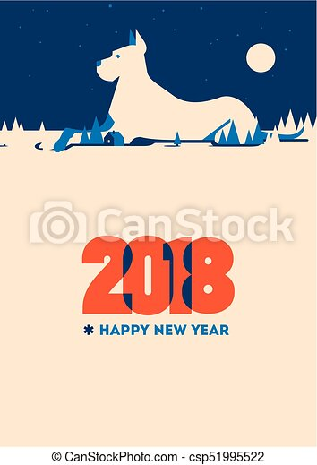2018 happy new year of the dog greeting card 2018 happy new year vector 2018 happy new year of the dog greeting card csp51995522 m4hsunfo