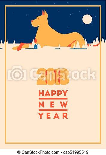 2018 happy new year of the dog greeting card 2018 happy new year vector 2018 happy new year of the dog greeting card csp51995519 m4hsunfo