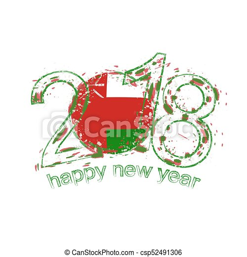 2018 happy new year oman grunge vector template for greeting card and other