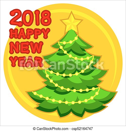 2018 Happy new year poster with christmas tree, star and garland light. - csp52164747