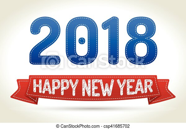 2018 happy new year red ribbon with shadow on light background voltagebd Images