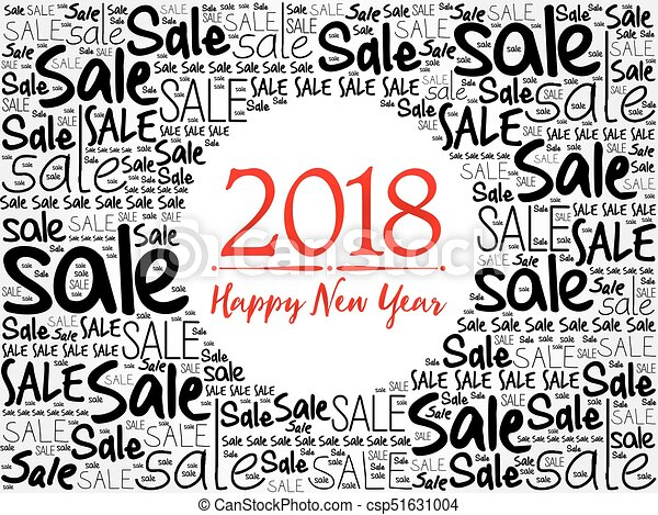 2018 happy new year. sale word cloud christmas background , holidays ...