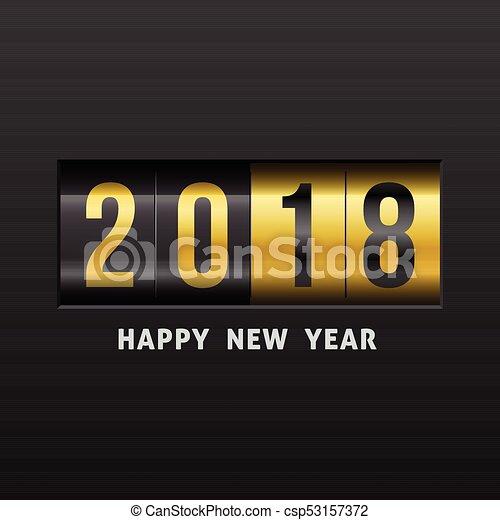 2018 Happy New Year. Vector illustration. - csp53157372