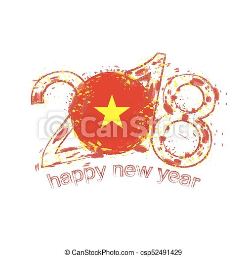 2018 happy new year vietnam grunge vector template for greeting card ...