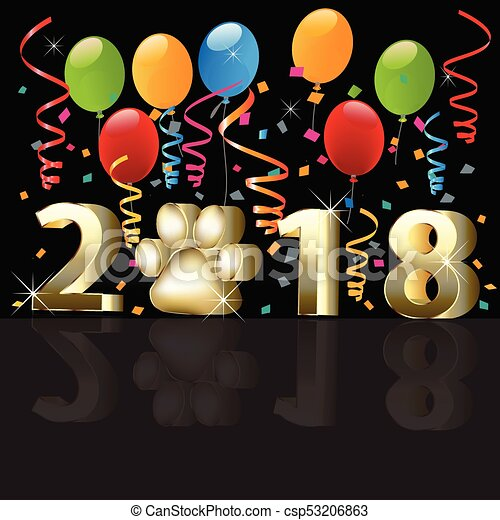 2018 Happy new year with balloons - csp53206863