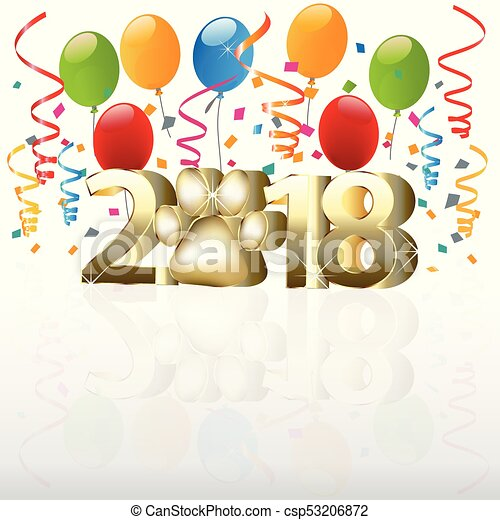 2018 Happy new year with balloons - csp53206872