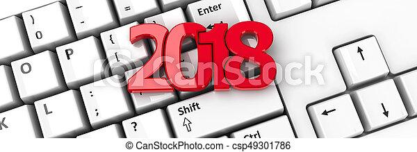 2018 icon on keyboard - csp49301786