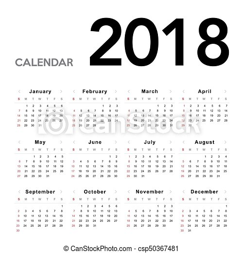2018., kalender, startar, söndag, vecka - csp50367481