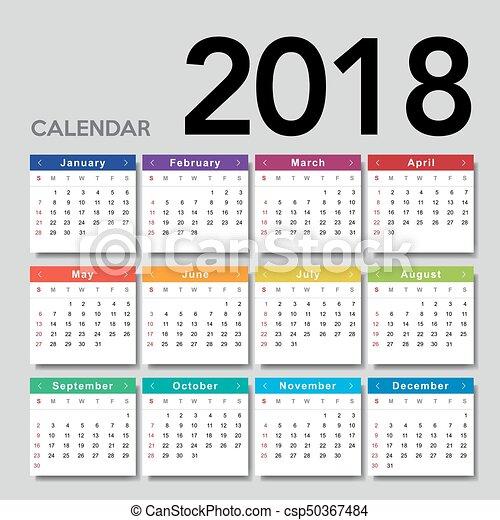 2018., kalender, startar, söndag, vecka - csp50367484