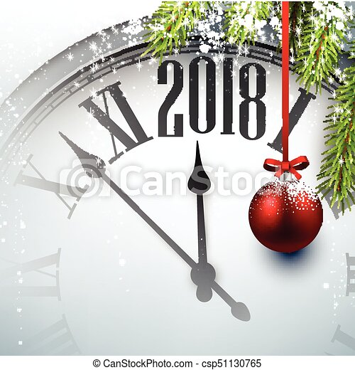 2018 new year background with clock csp51130765