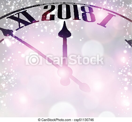 lilac 2018 new year background with clock vector illustration