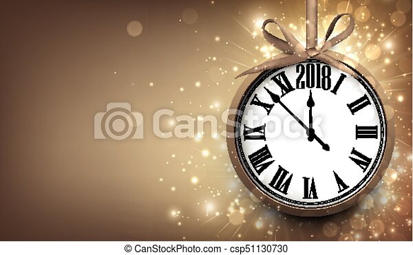 2018 new year background with clock csp51130730