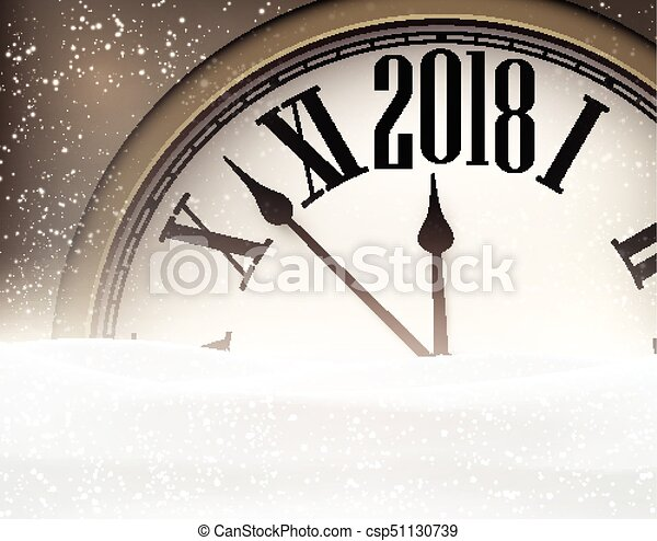 2018 new year background with clock csp51130739