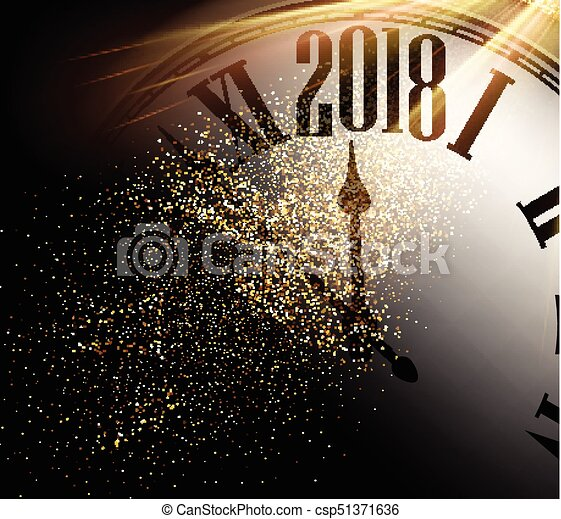 2018 New Year background with clock. - csp51371636