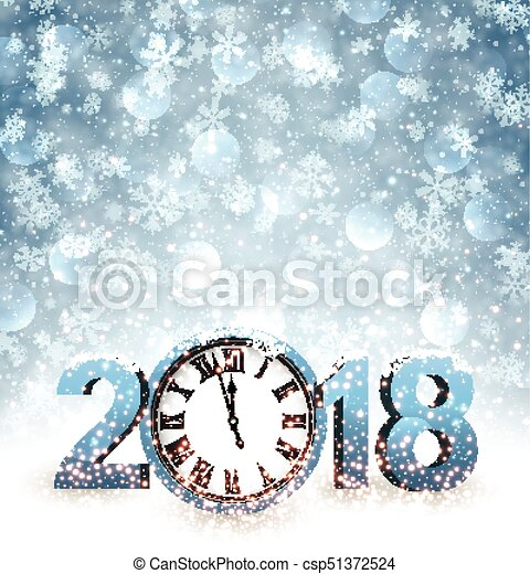 2018 New Year background with clock. - csp51372524