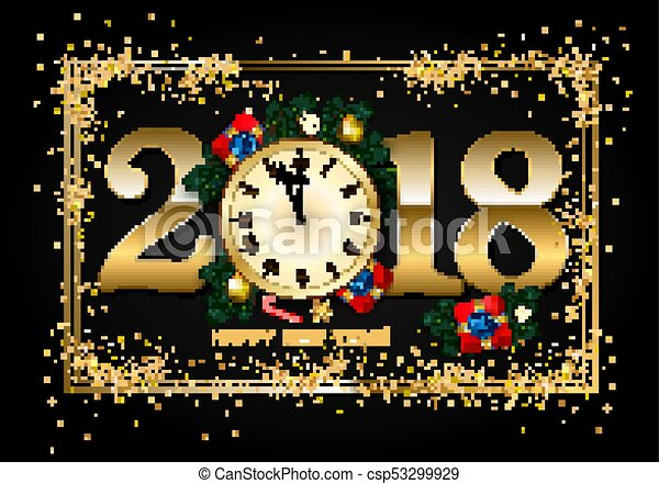 2018 new year background with clock gift box candy cane pine csp53299929