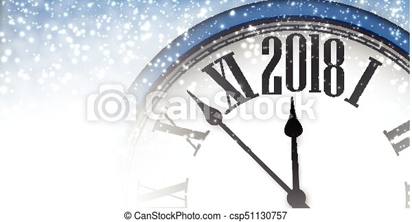 2018 new year banner with clock csp51130757