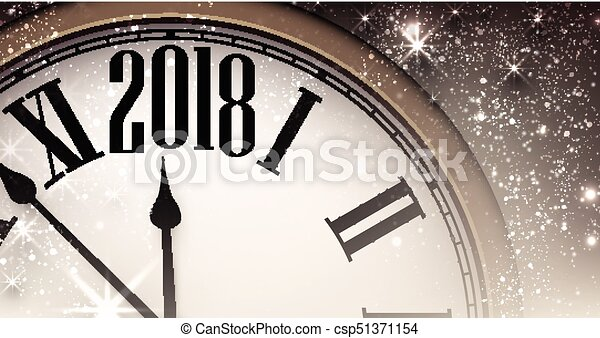 2018 new year banner with clock csp51371154