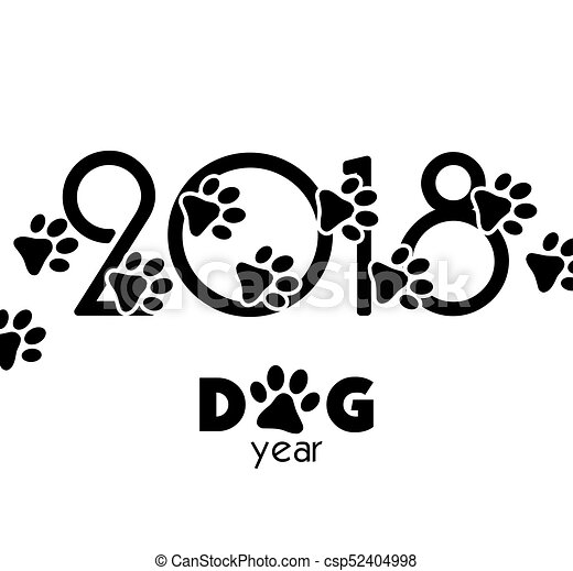 2018 New Year Creative Background Design With Dog Paws For Your Greeting Card Chinese Calendar Vector