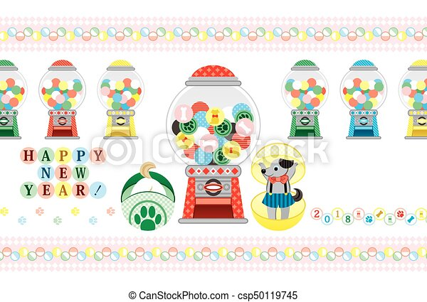 2018 new year greeting card capsule toy happy new year.