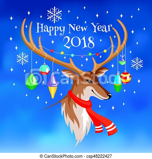 2018 new year greeting card with deer csp48222427